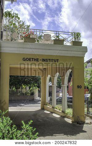 SYDNEY, AUSTRALIA - NOVEMBER, 03, 2014: Inscription of Goethe-Institut on a building entrance in Sydney