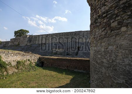 BELGRADE, SERBIA - JULY 31, 2017:The fortress wall and the moat of the Belgrade Fortress Serbia.