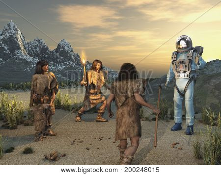 3d illustration of prehistoric humans facing an alien