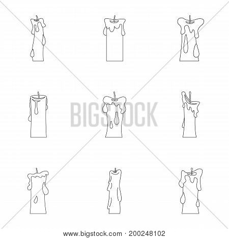 Wax candles icon set. Outline style set of 9 wax candles vector icons for web isolated on white background