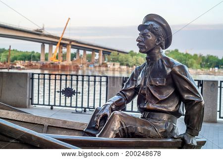 ROSTOV-ON-DON, RUSSIA - MAY, 2017: Monument of Grigory Melekhov on embankment