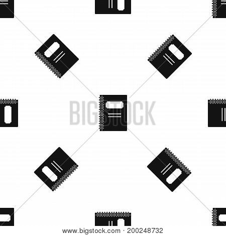 Closed spiral notebook pattern repeat seamless in black color for any design. Vector geometric illustration