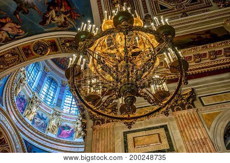 SAINT PETERSBURG, RUSSIA - CIRCA JUNE 2015: Interior and dome inner view of the Saint Isaac's Cathedtral in Saint Petersburg, Russia