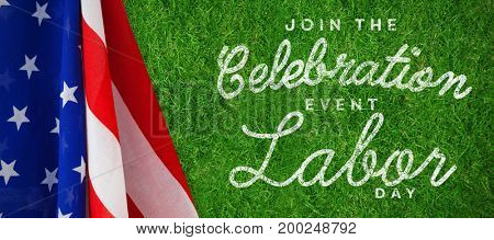 Digital composite image of join celebratio event labor day text against closed up view of grass