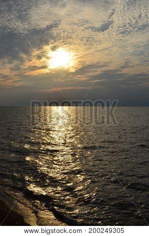 Beautiful setting sun reflecting over Lake Erie