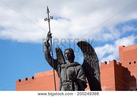 Yoshkar-Ola, Russia - August 16, 2017 Photo of the monument to Archangel Gabriel at the Arkhangelsk settlement in Yoshkar-Ola, Russia