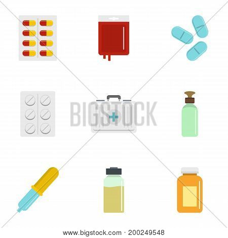 Pharmacy icon set. Flat style set of 9 pharmacy vector icons for web isolated on white background