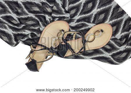 Women's black sandals on a white background closeup