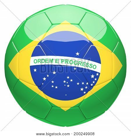 Soccer football with Brazil flag 3d rendering isolated on white background