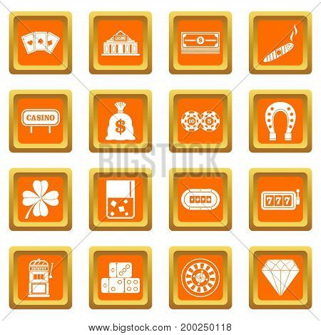 Casino icons set in orange color isolated vector illustration for web and any design