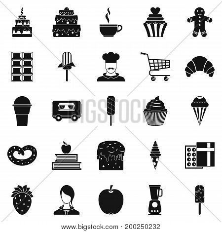 Confectioner icons set. Simple set of 25 confectioner vector icons for web isolated on white background