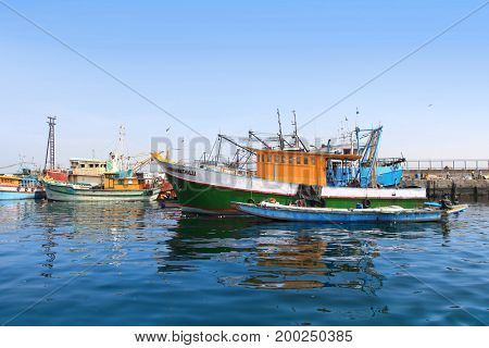 Visakhapatnam, INDIA - December 7 :Fishing harbor in Visakhapatnam was set up in 1976 spreading across 24 hectors of land . On December 7,2015 Visakhapatnam, India