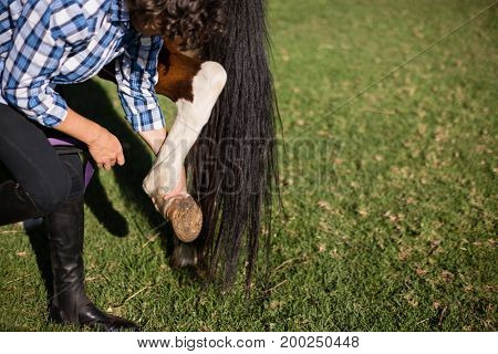Man cleaning horse hoof in the ranch