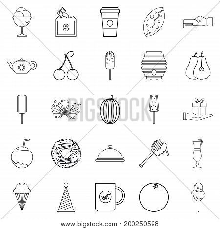 Delicious dessert icons set. Outline set of 25 delicious dessert vector icons for web isolated on white background