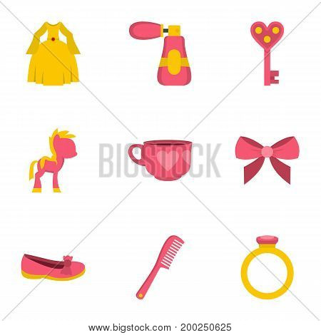 Little princess icon set. Flat style set of 9 little princess vector icons for web isolated on white background