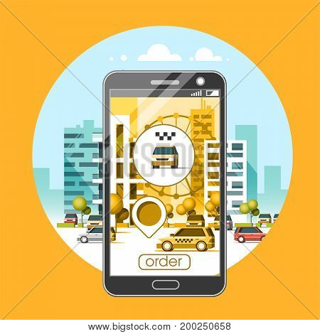 Taxi service mobile application. City skyscrapers building skyline with car on smart phone. Navigate application. Flat vector illustration.