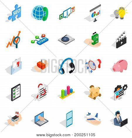 Game development icons set. Isometric set of 25 game development vector icons for web isolated on white background