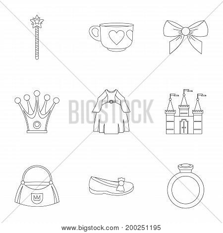 Princess accessories icon set. Outline style set of 9 princess accessories vector icons for web isolated on white background