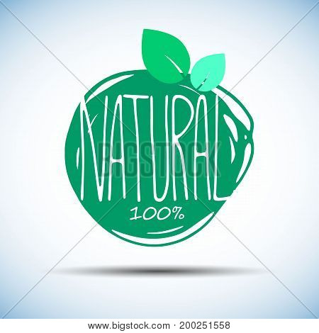 Label with original hand lettering. Handmade calligraphy. Organic bio natural design template. Can be used for logo poster icon print and web projects.