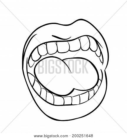 Shouting Lips With Teeth And Tongue Cartoon Outline Vector Symbol Icon Design. Beautiful Illustratio