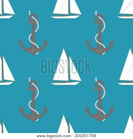 Sailboats with anchor in the open sea. Sailboat seamless pattern. Vector illustration in flat style