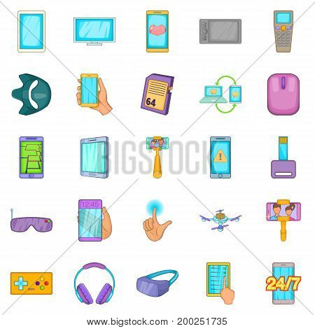Widget icons set. Cartoon set of 25 widget vector icons for web isolated on white background