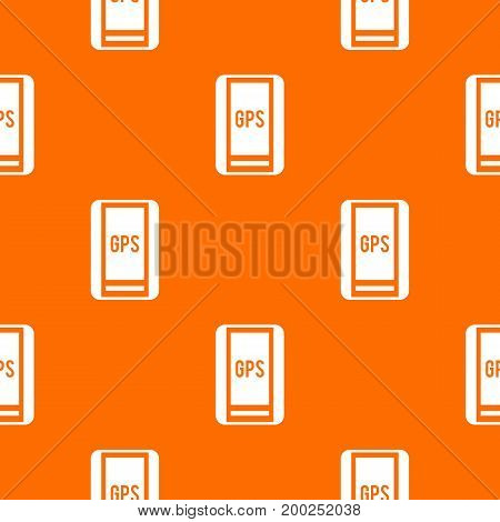 Global Positioning System pattern repeat seamless in orange color for any design. Vector geometric illustration