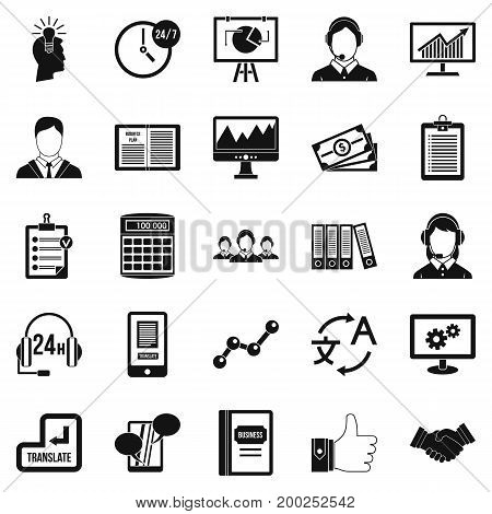 Dialog icons set. Simple set of 25 dialog vector icons for web isolated on white background