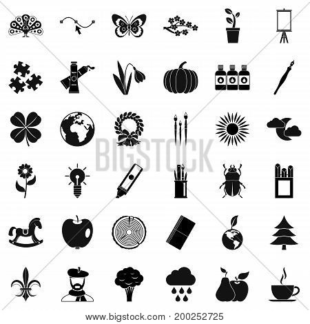 Ecology painting icons set. Simple style of 36 ecology painting vector icons for web isolated on white background