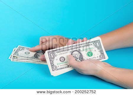 Woman Counting Money. Economy Concept. Allocation Of Money.