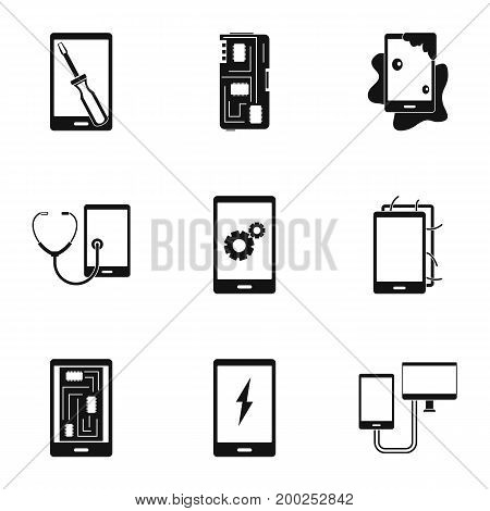 Device repair icon set. Simple style set of 9 device repair vector icons for web isolated on white background