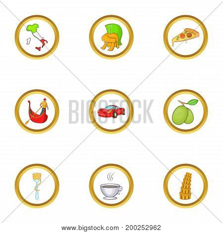 Italia country icon set. Cartoon style set of 9 Italia country vector icons for web isolated on white background