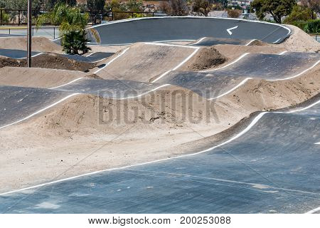 CHULA VISTA, CALIFORNIA - JUNE 30, 2017:  BMX racing track with moguls at the Chula Vista Elite Athlete Training Center, a 155-acre facility built in 1995 for Olympic and paralympic athletes.