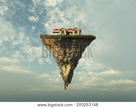 3d illustration of a house on a piece of land floating in the sky