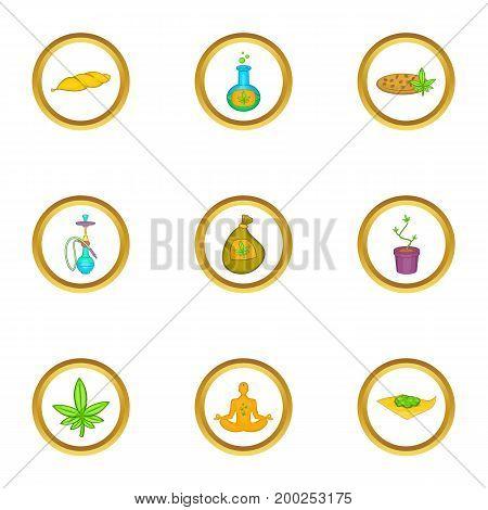 Marijuana cannabis icon set. Cartoon style set of 9 marijuana cannabis vector icons for web isolated on white background