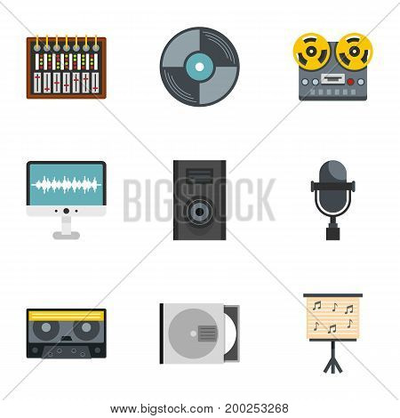 Sound producing icon set. Flat style set of 9 sound producing vector icons for web isolated on white background