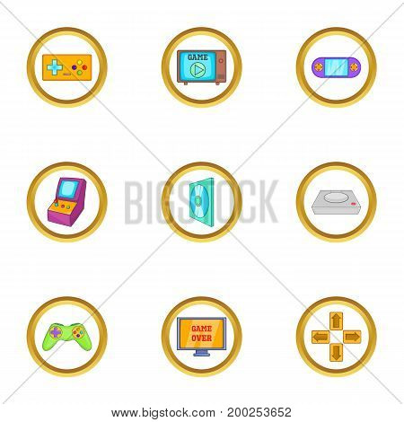 Game console icon set. Cartoon style set of 9 game console vector icons for web isolated on white background