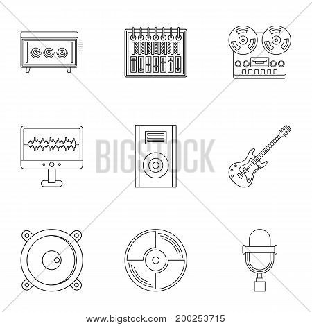Music equipment icon set. Outline style set of 9 music equipment vector icons for web isolated on white background