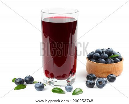 blueberry juice isolated on a white background.