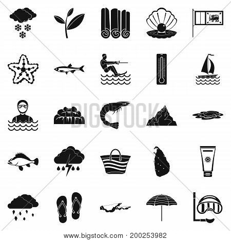 Diving icons set. Simple set of 25 diving vector icons for web isolated on white background