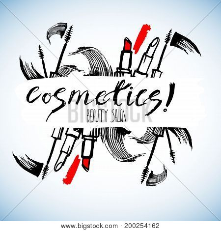 Cosmetics for the body face. Vector fashion female makeup brush