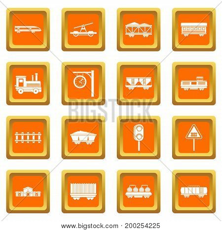 Railway icons set in orange color isolated vector illustration for web and any design