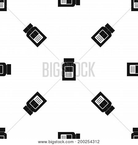 Medicine bottle pattern repeat seamless in black color for any design. Vector geometric illustration