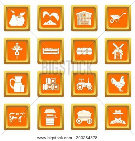 Farm icons set in orange color isolated vector illustration for web and any design