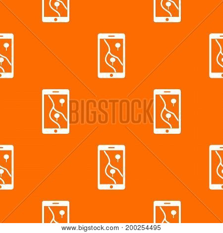 Smartphone with GPS navigator pattern repeat seamless in orange color for any design. Vector geometric illustration
