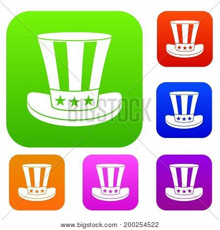 American hat set icon in different colors isolated vector illustration. Premium collection
