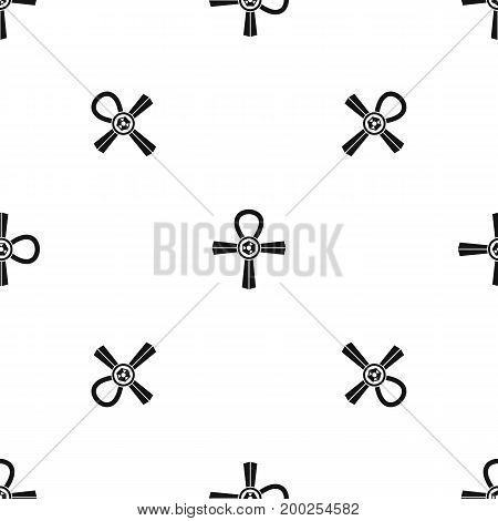 Egypt Ankh symbol pattern repeat seamless in black color for any design. Vector geometric illustration