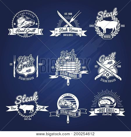Set of isolated white steak emblems with decorative captions and images of grilled meat and flatware vector illustration