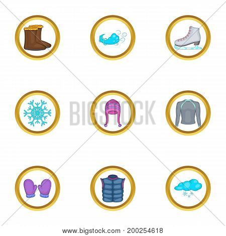 Skates wear icons set. Cartoon illustration of 9 skates wear vector icons for web design
