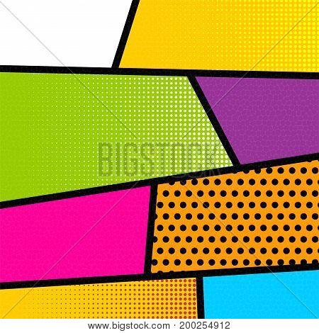 Vector halftone illustration. Blank rectangle for comic superhero text, speech bubble, message. Humor graphic. Pop art comics book magazine cover template. Cartoon funny vintage strip mock up.